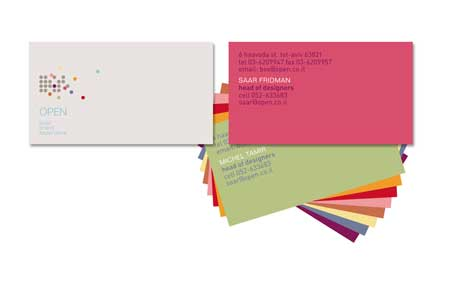 Open design studio business cards