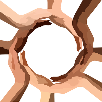 circle of hands - different - races